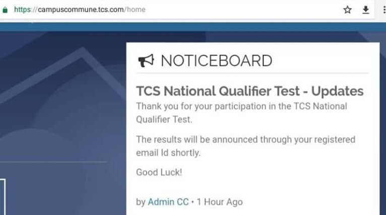 TCS Ninja Result for National Qualifier Test 2018