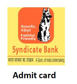 Syndicate Bank Admit Card 2019