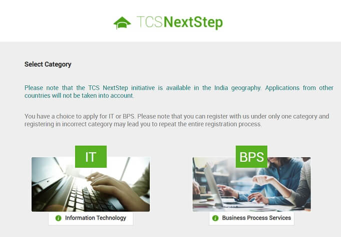 TCS Nextstep Registration Step2