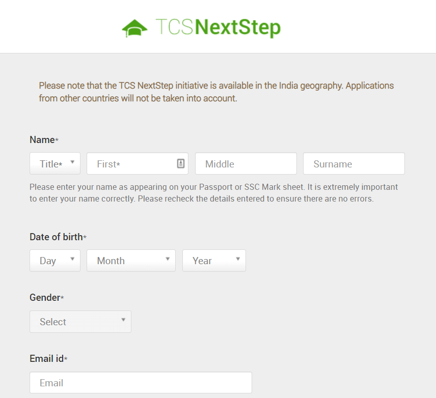 TCS Nextstep Registration Step 3